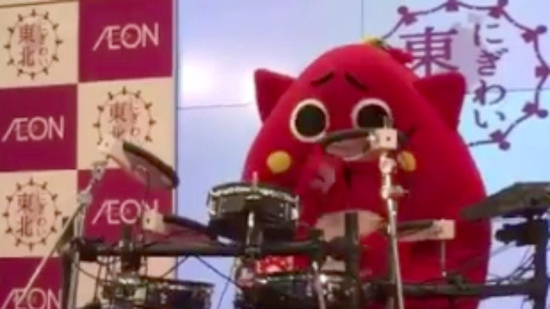 Illustration for article titled Japanese cartoon mascot goes death metal on the drums
