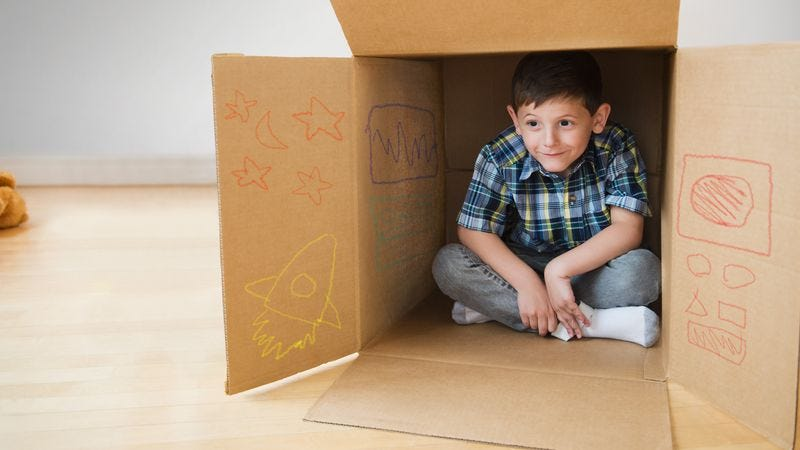 Illustration for article titled Sitting Inside Cardboard Box The Safest 6-Year-Old Will Feel For Remainder Of Life