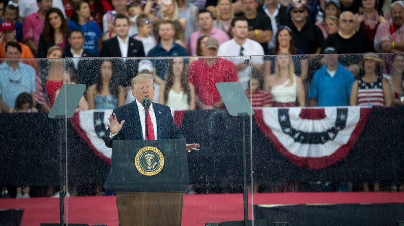 """Donald Trump speaking at the """"Salute to America"""" ceremony in front of the Lincoln Memorial, July 4, 2019, in Washington, D.C."""