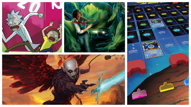 Clockwise from left: Dungeons & Dragons vs. Rick & Morty, Arkham Horror: The Card Game, Space Invaders: The Board Game, Baldur's Gate: Descent Into Avernus.