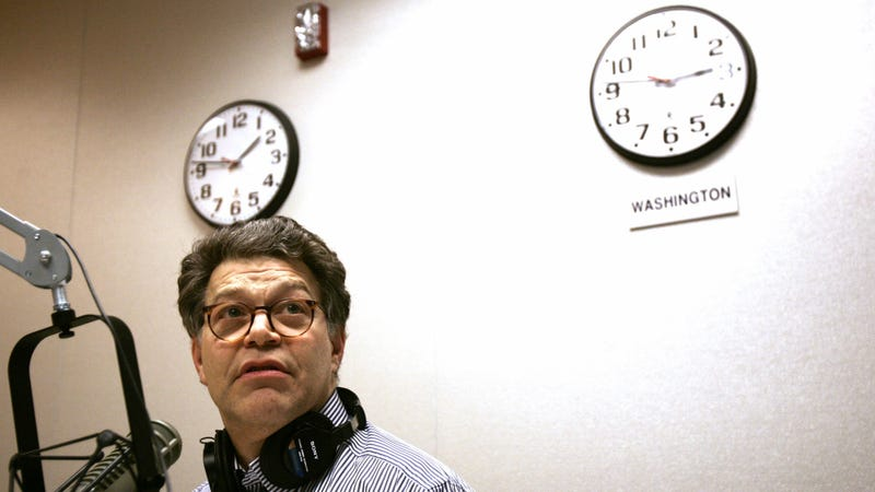 Franken recording Air America in 2005. Photo via AP