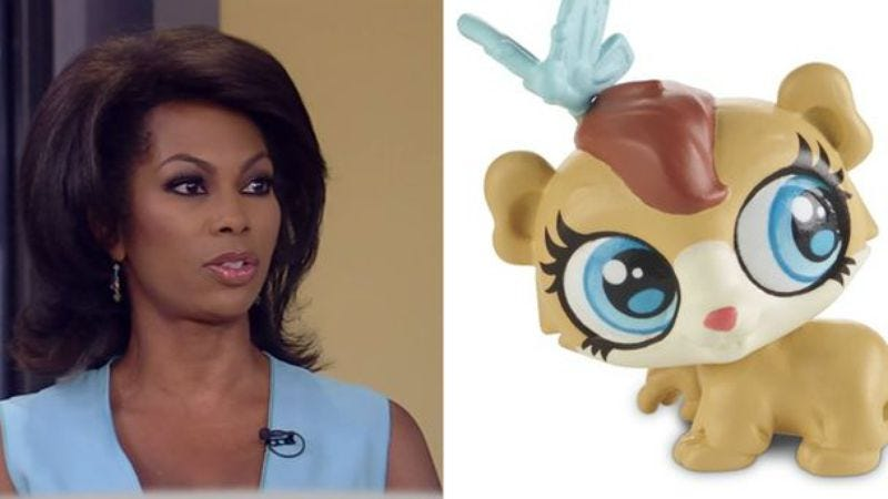 """On the left: """"An adult, African-American, human, female newscaster."""" On the right: Harris Faulkner"""