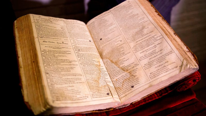 First Folio on display at the Globe, 2015. Photo via AP Images.