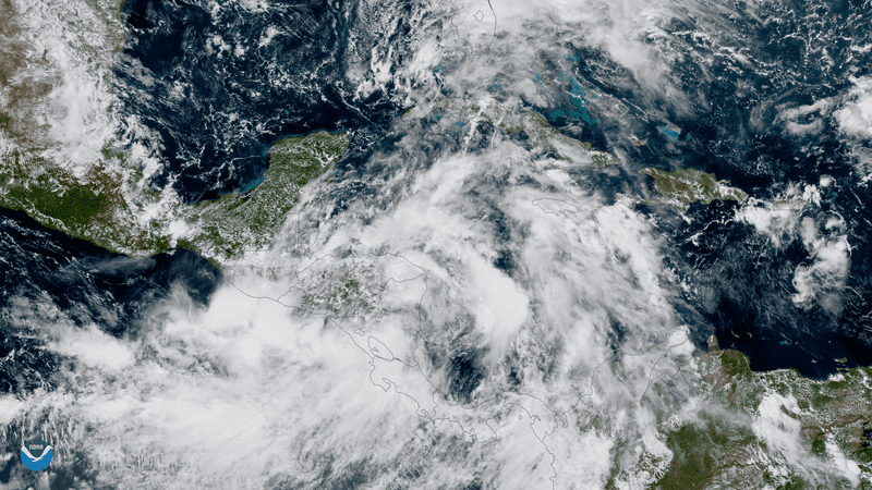The GOES-16 satellite captured this image of Tropical Storm Nate on October 5, 2017. (Image: NOAA)