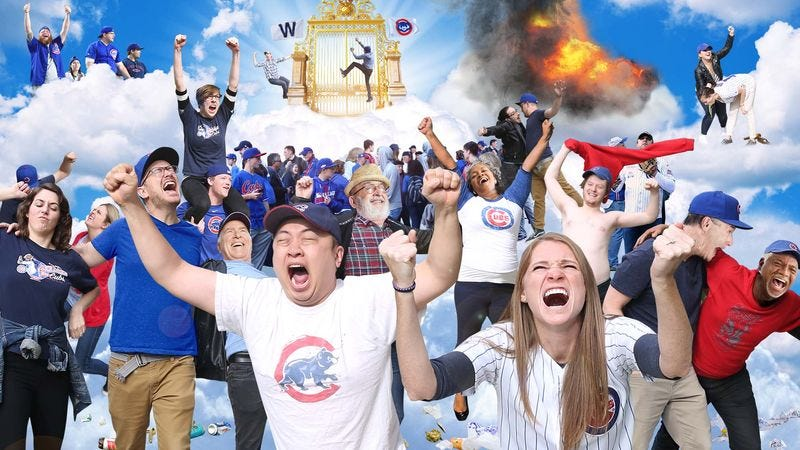 Illustration for article titled Millions Of Drunk Cubs Fans Rioting In Heaven Following World Series Win