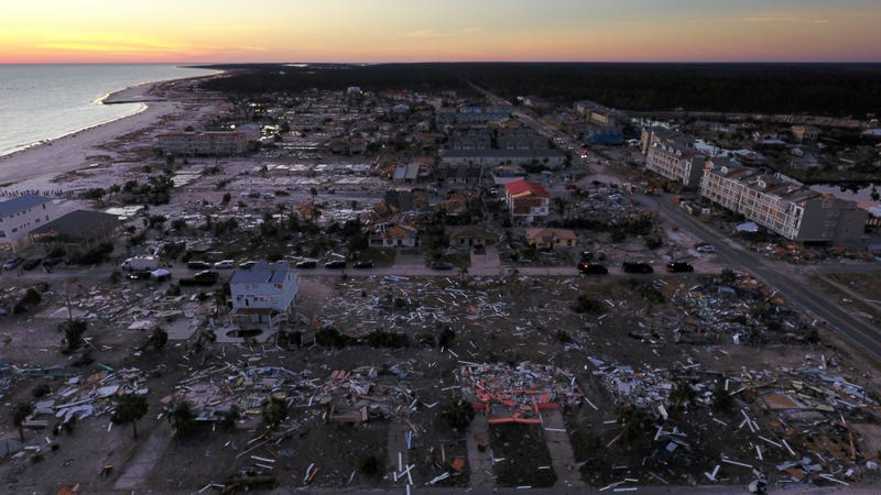 Destroyed homes in Mexico Beach, Florida seen in the aftermath of Hurricane Michael on October 12, 2018.