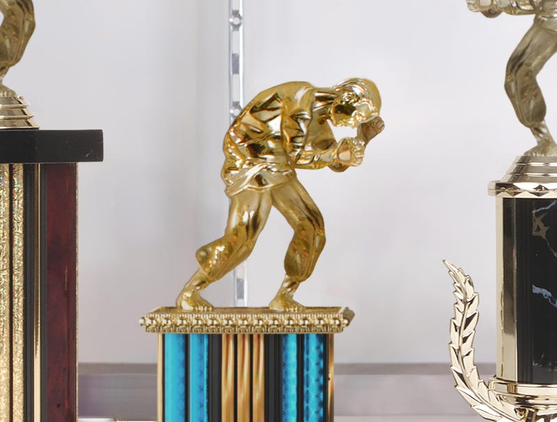 Illustration for article titled Little Karate Figures On Top Of Local Dojo's Trophies All Cowering In Fear