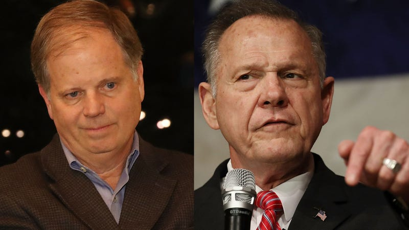 Democratic Alabama senatorial candidate Doug Jones; Republican Alabama senatorial candidate Roy Moore (Joe Readle/Getty Images)