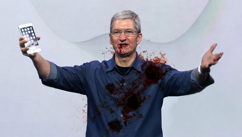 Illustration for article titled Police Repeatedly Shoot Tim Cook After Mistaking iPhone For Gun
