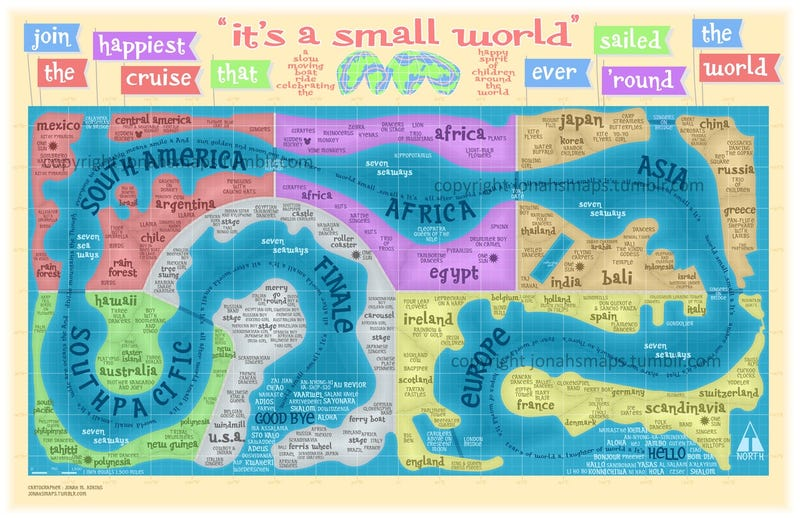Illustration for article titled What if Earth's continents were set up according to Disney's It's A Small World ride?