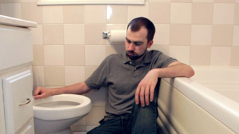 Illustration for article titled Deep Down, Area Man Knows He's Not Done Vomiting