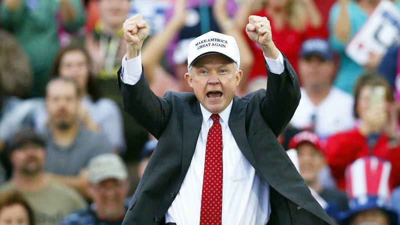 Sessions at a Trump rally. Photo via AP