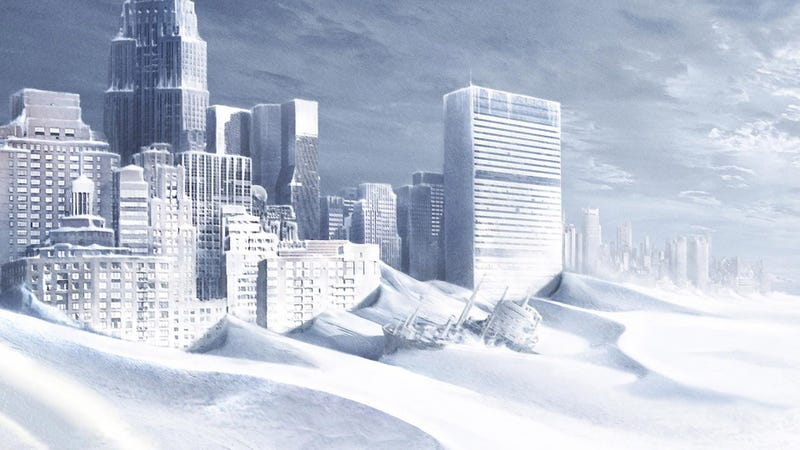 An image from The Day After Tomorrow, a similarly themed environmental disaster movie. Image: Fox