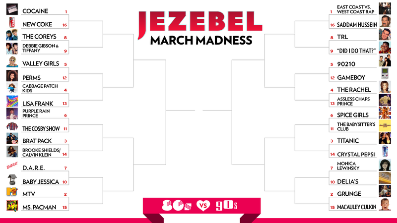 Illustration for article titled Jezebel's March Madness 2013: 80s vs. 90s