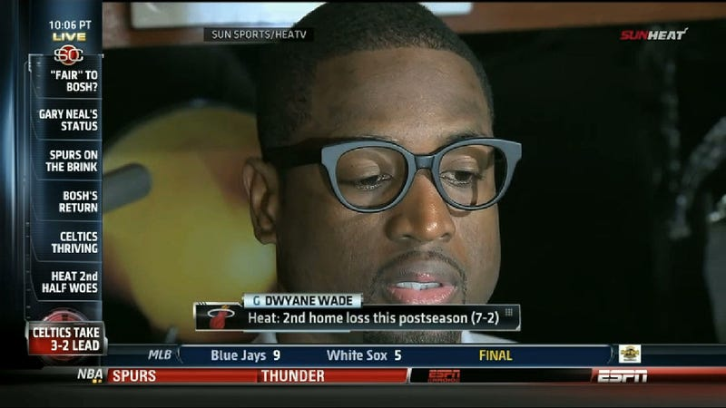 Illustration for article titled Dwyane Wade Copes With Brutal Game 5 Loss By Wearing Stupid Glasses