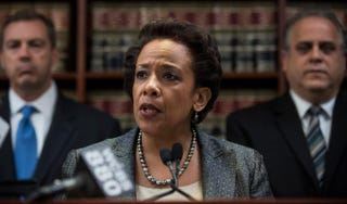 Loretta Lynch, U.S. attorney for the Eastern District of New York, speaks at a press conference to announce a 20-count indictment against U.S. Rep. Michael Grimm (R-N.Y.) April 28, 2014, in New York City. Andrew Burton/Getty Images