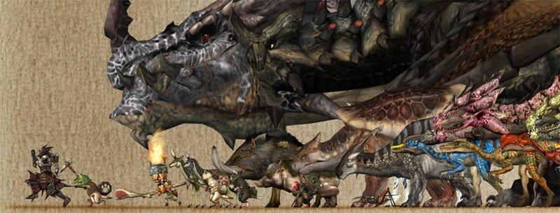 Illustration for article titled Let's Compare Monster Hunter Monster Sizes!
