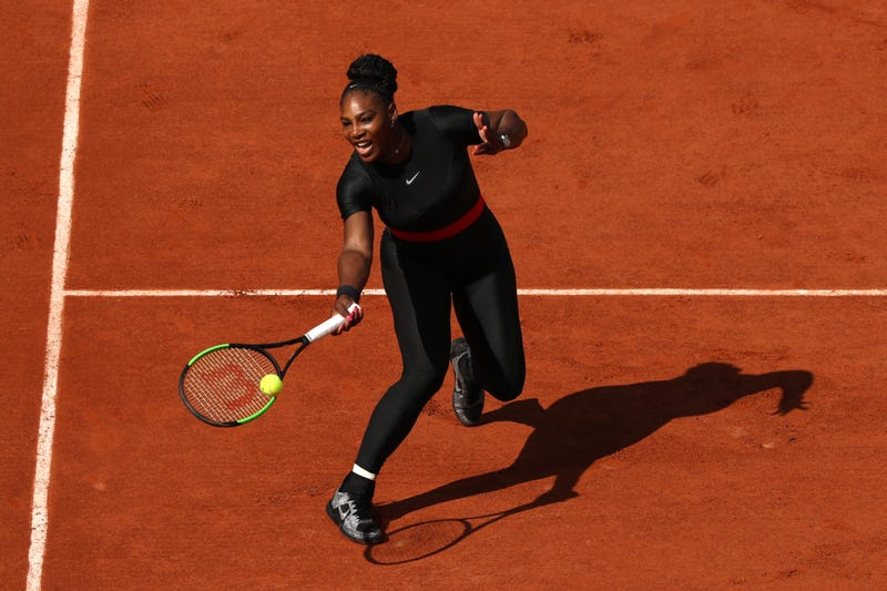 Serena Williams of the United States plays a forehand during her ladies singles first round match during day three of the 2018 French Open at Roland Garros on May 29, 2018, in Paris, France.