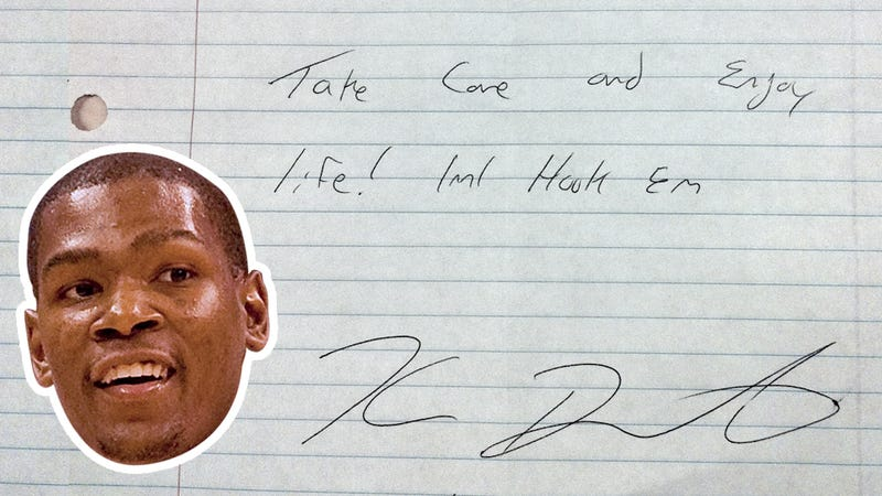 Illustration for article titled How Did This Personalized Note From Kevin Durant End Up On The Floor Of A University Of Texas Bathroom?