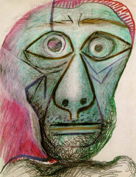 Changes to Pablo Picaso's fractal signature over time did not show the same pattern as those fractals produced by artists with neurodegenerative diseases. (Image: Picasso, Self Portrait, 1972)