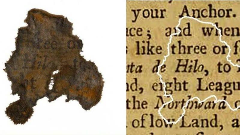 Trozos de papel recuperados del cañón de Barbanegra revelan lo que leían los piratas
