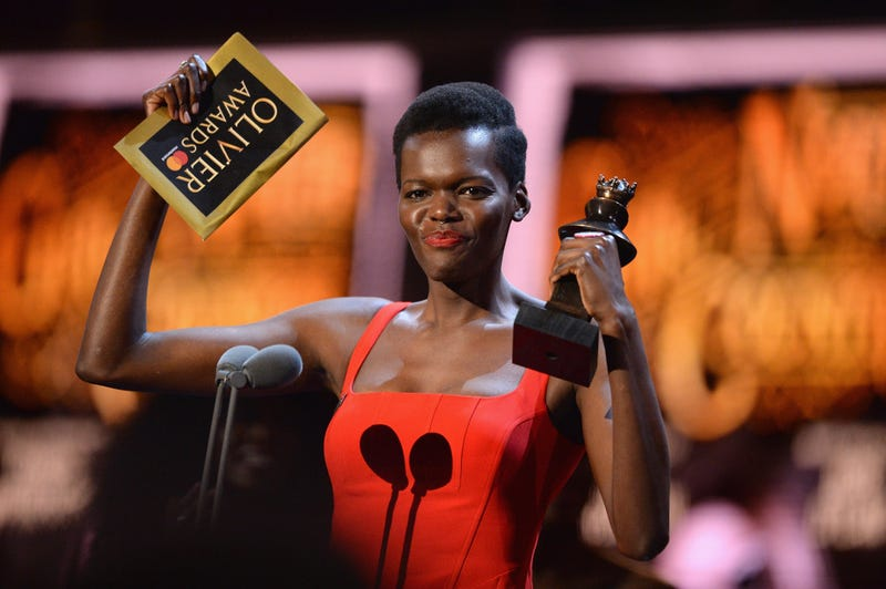 Sheila Atim receives the Olivier Award for Best Actress in a Supporting Role in a Musical for Girl From the North Country onstage at Royal Albert Hall on April 8, 2018, in London.