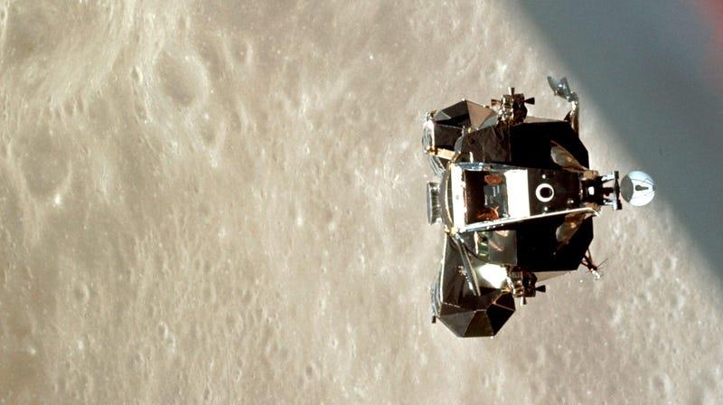 "NASA's Apollo 10 lunar module, or ""Snoopy,"" above the Moon on May 22, 1969."