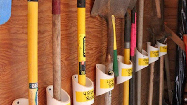 If your garden tool storage consists of a corner of your garage with rakes shovels and lots of other free ranging tools piled haphazardly in a corner ... & Keep Your Garden Tools Organized with a PVC Storage Rack