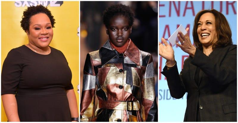 (l-r) Yamiche Alcindor, Adut Akech and Kamala Harris