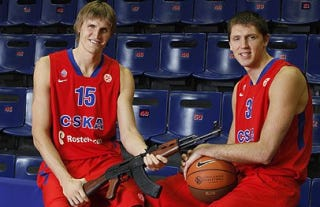 Illustration for article titled This Evening: Andrei Kirilenko Joins His Old Team In Russia, Poses With An AK-47