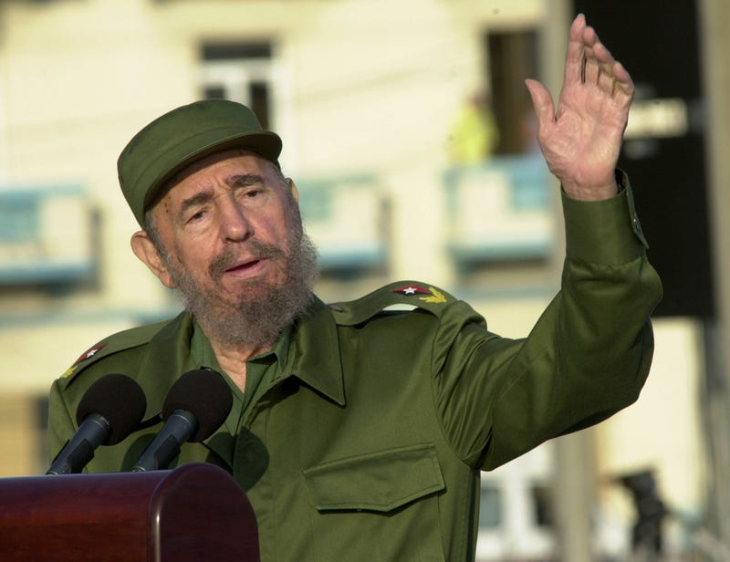 Then-Cuban President Fidel Castro gives a speech in front of the U.S. Interest Section on May 14, 2004, in Havana.Jorge Rey/Getty Images