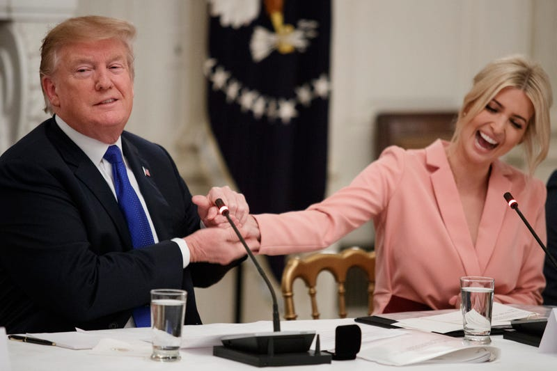 Donald and Ivanka Trump during a meeting with the American Workforce Policy Advisory Board inside the State Dining Room of the White House on March 6, 2019.