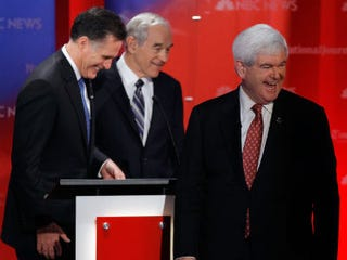 Mitt Romney, Ron Paul and Newt Gingrich (Chip Somodevilla/Getty Images)