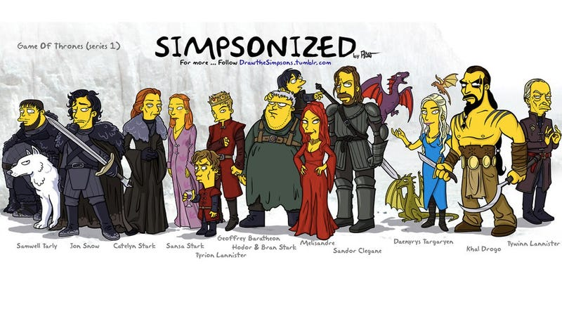 Illustration for article titled What if The Simpsons was invaded by characters from Game of Thrones?