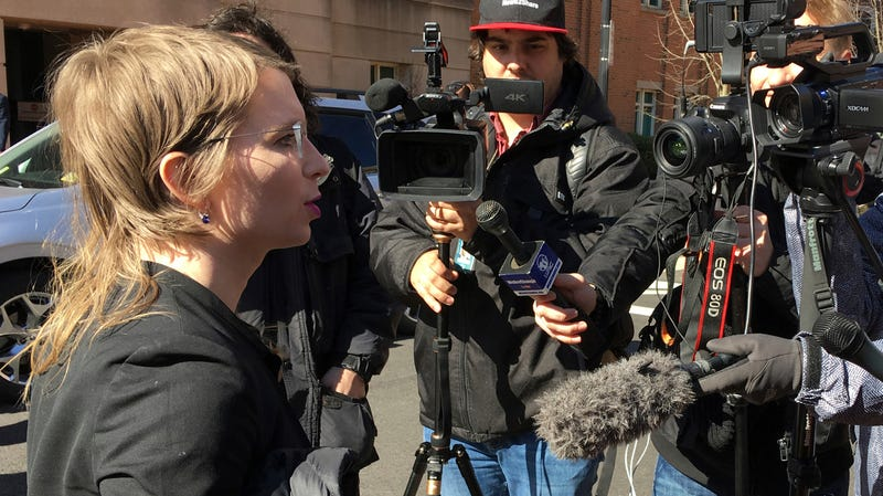 Chelsea Manning addresses the media outside federal court in Alexandria, Va., Tuesday, March 5, 2019. The former Army intelligence analyst says a judge rejected her effort to quash a grand jury subpoena to testify in an apparent investigation of Wikileaks.