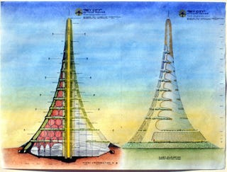 Illustration for article titled A Two-Mile High Eco-Tower to House One Million People, 12 Lakes, and a Vertical Train