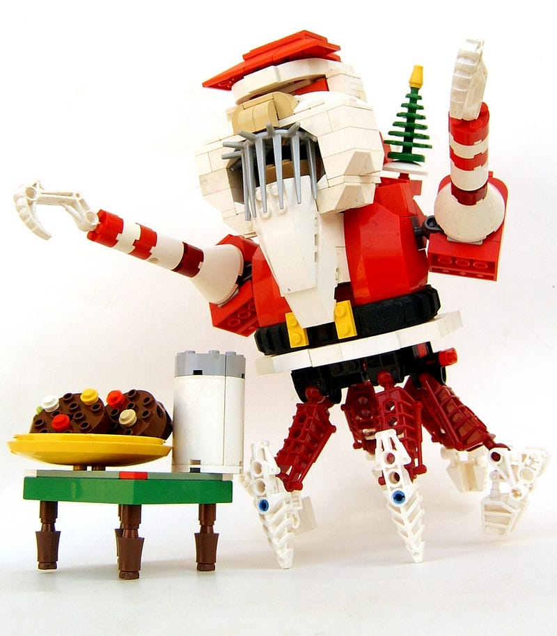 Illustration for article titled Lego Santa Crab Will Eat Your Cookies, Drink Your Milk, Kill You