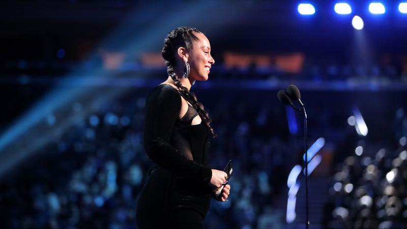 Alicia Keys speaks onstage during the 60th Annual GRAMMY Awards at Madison Square Garden on January 28, 2018 in New York City.