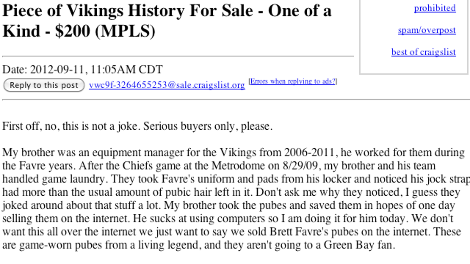 brett favre's purported pubes are for sale on craigslist for $200