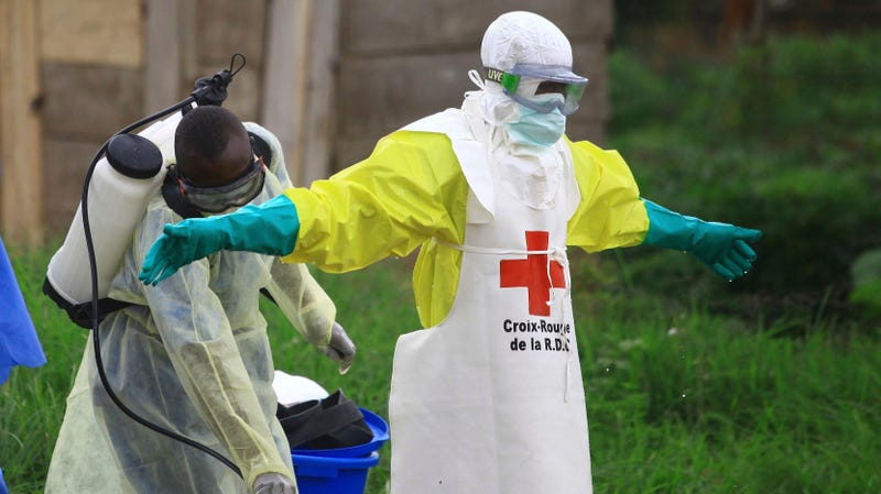 A health worker is sprayed with disinfectant after working in an Ebola treatment center in Beni, Eastern Congo.