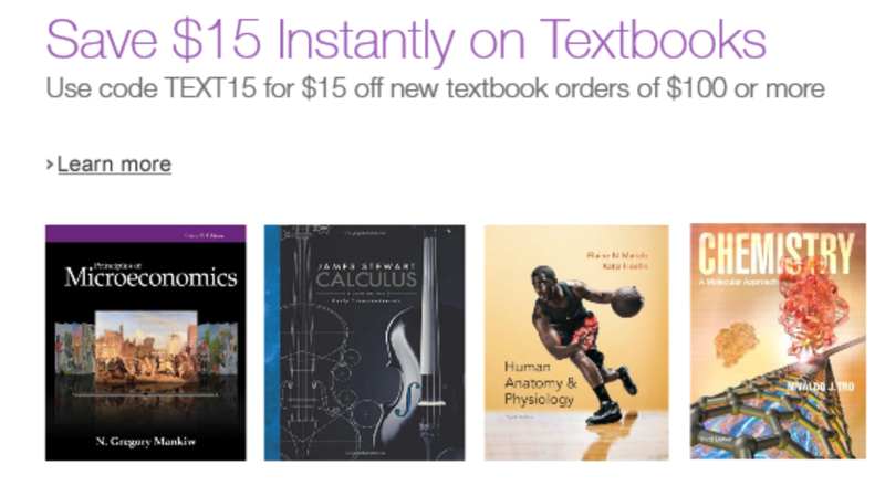 $15 off $100 textbook order, promo code TEXT15