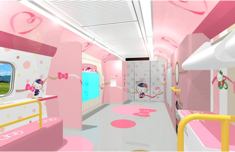 Illustration for article titled A Look Inside The Hello Kitty Bullet Train
