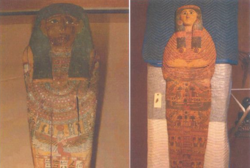 Two of the stolen Egyptian antiquities recovered by U.S. authorities: a set of three nesting Egyptian wooden coffins, circa 664-111 B.C., and an ancient Egyptian wood gessoed and polychrome-painted anthropoid sarcophagus, Third Intermediate Period, 21st-22nd Dynasty, circa 1070-712 B.C.Courtesy of U.S. Immigration and Customs Enforcement