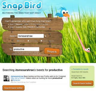 Illustration for article titled Snap Bird Helps You Find the Tweets That Got Away