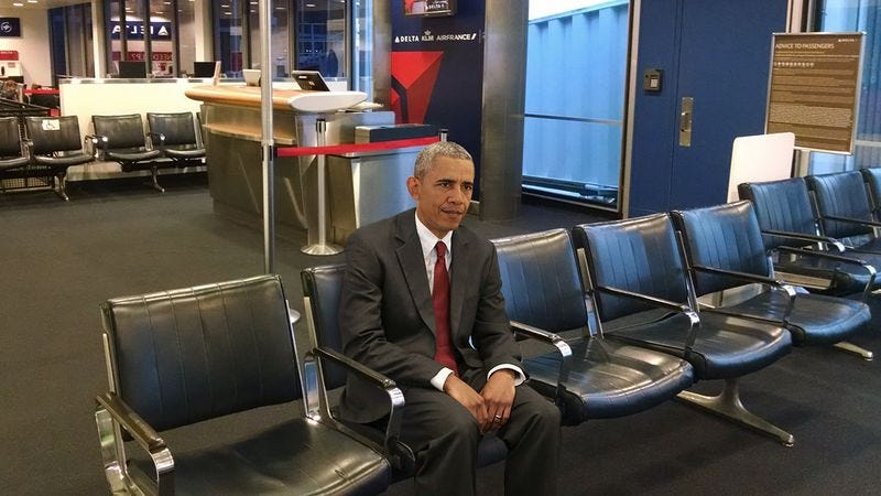 Illustration for article titled Security Failure: President Obama Has Been Sitting Alone In The Kansas City International Airport For The Past 4 Days