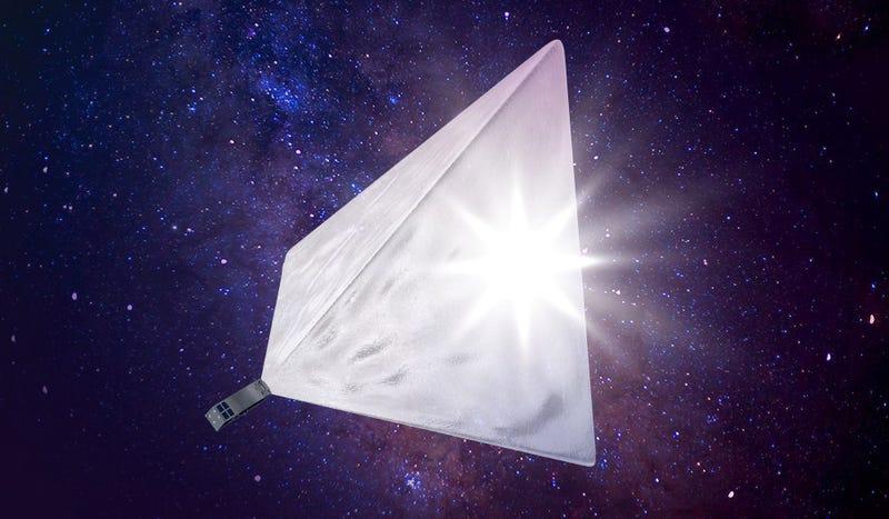 Interpretación artística del satélite, con sus reflectores despegados. Imagen: Mayak