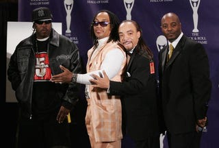 Scorpio, Melle Mel, the Kidd Creole and Raheim of Grandmaster Flash and the Furious Five  at the 22nd annual Rock and Roll Hall of Fame Induction Ceremony on March 12, 2007 (Peter Kramer/Getty Images)