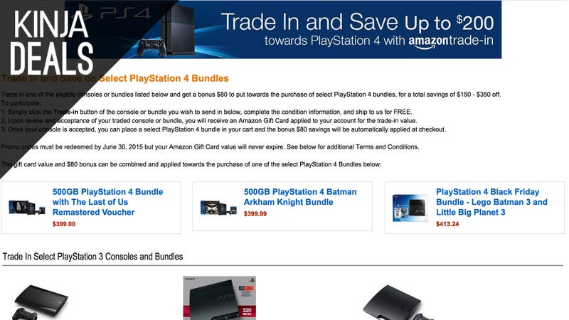 Illustration for article titled Trade In Your Old Console and Get $80 in Bonus Credit Towards a PS4