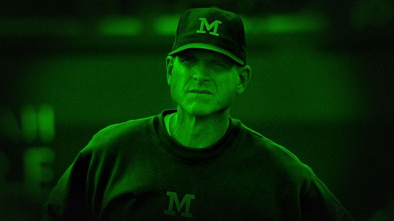 Illustration for article titled Documentary Crew's Night Vision Camera Captures Inquisitive Jim Harbaugh Poking Lens