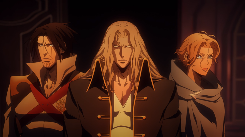 Trevor, Alucard, and Sypha as they appear in Castlevania's second season.